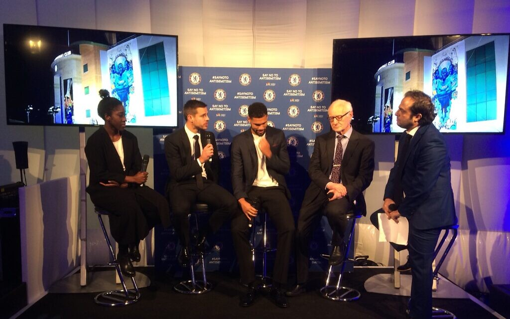 L-R pic: Anita Asante,  Cesar Azpilicueta, Ruben Loftus-Cheek, Bruce Buck and Richard Ferrer