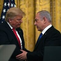 Donald Trump embraces Benjamin Netanyahu during their meeting in Washington, where the so-called 'Deal Of The Century' was unveiled  (@Netanyahu on Twitter)