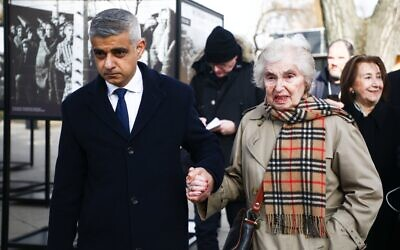Sadiq Khan hand-in-hand with Holocaust survivor Renee Salt at Auschwitz, at the event marking 75 years since the liberation of the camp