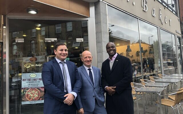 Shaun Bailey, right, with Board of Deputies vice president Edwin Shuker and the Jewish Leadership Council's Russell Langer