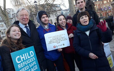 Lord Dubs with campaigners for refugees in January, including Edie Friedman of JCORE