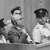 John Demjanjuk hearing his death sentence. Demjanjuk Trial Jerusalem (Wikipedia/USHMM Photograph #65266, courtesy of Israel Government Press Office)