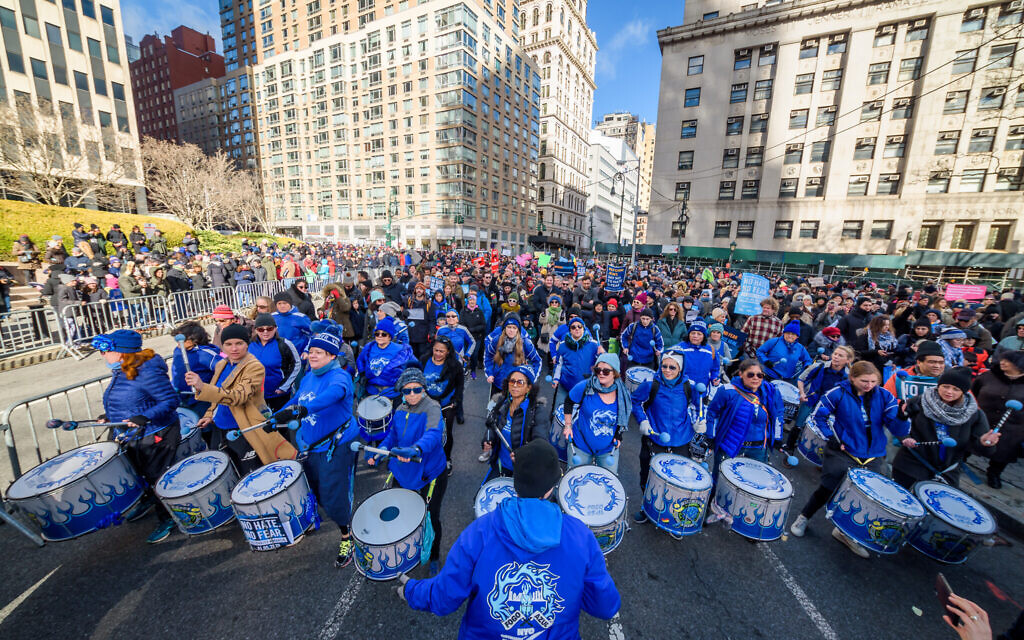 """Fogo Azul marching band at the rally. Thousands of New Yorkers of all backgrounds joined community leaders and city and statewide elected officials in Foley Square at the """"No Hate. No Fear."""" solidarity march in unity against the rise of anti-semitism on January 5, 2019. (Photo by Erik McGregor/Sipa USA)"""