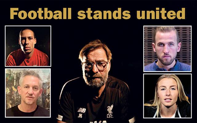 Right: England men's and Women's captains Harry Kane and Steph Houghton. Left: Virgil van Dijk and Gary Lineker. Centre: Liverpool boss Jurgon Klopp