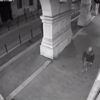 Screenshot from Italian police video of the alleged shul vandal