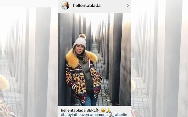 Screenshot of Instagram post apparently published by @hellentablada