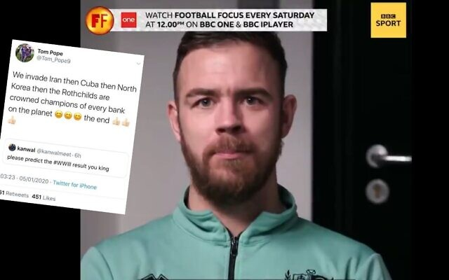 Tom Pope on BBC Sport, right, screenshot of tweet circulated on social media, left