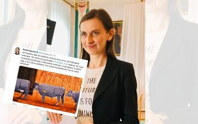 Sylwia Spurek last year, centre, tweet screengrab left (Credits: Piotr Sokołowsk, wikimedia commons, www.commons.wikimedia.org/w/index.php?curid=79774522; Twitter screengrab)