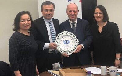 Pictured from left to right, Rahima Mahmut, Dolkun Isa, Board of Deputies vice presidents Edwin Shuker and Amanda Bowman