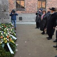 Delegates laid wreaths at the Death Wall (Credit: Yoni Rykner)