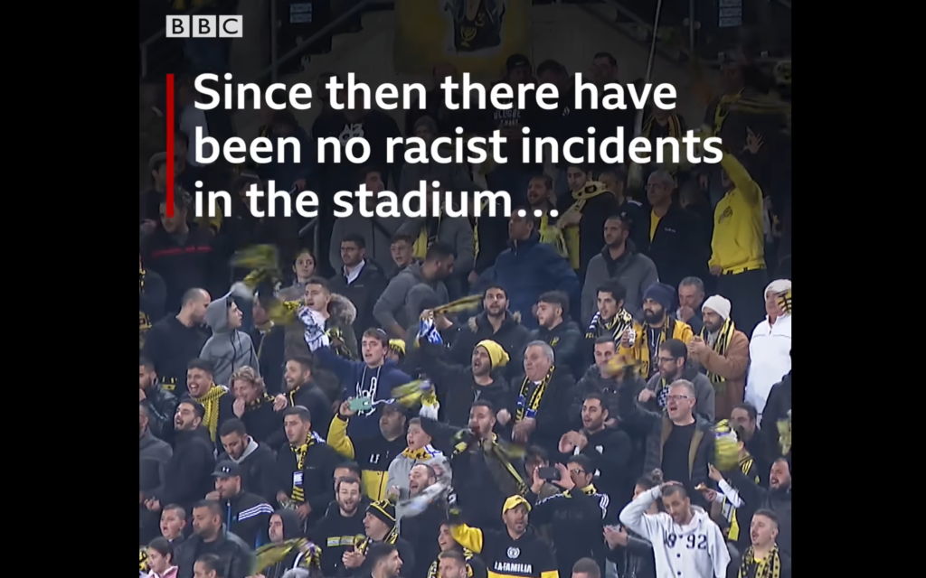 Screenshot from BBC World Service video on Facebook on the eradication of racism at Beitar