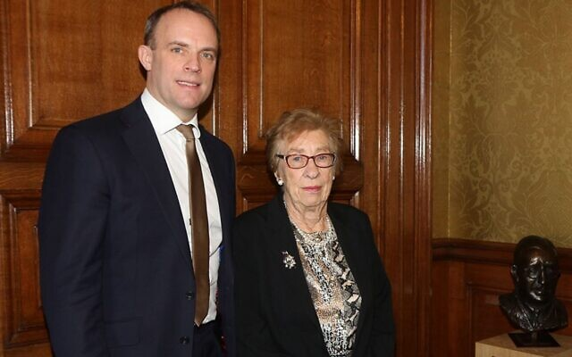 Dominic Raab with Eva Schloss (Credit: Foreign Office / Twitter)