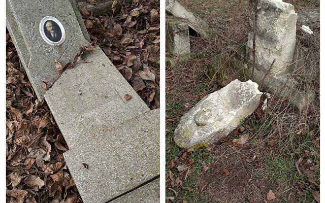 "Gravestones vandalised in Bulgaria.   (Credit: Organisation of the Jews in Bulgaria - Организация на евреите в България ""Шалом"" @ShalomBulgariaOrganization)"