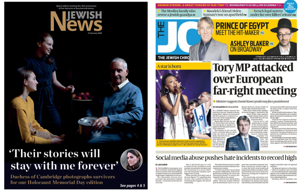 Jewish News and Jewish Chronicle front pages