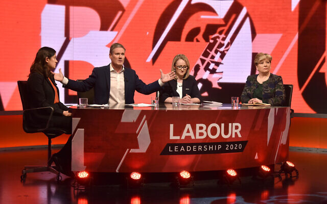 Labour leadership candidates (left to right) Lisa Nandy, Sir Kier Starmer, Rebecca Long-Bailey and Emily Thornberry as the take part in Newsnight Labour leadership hustings at New Broadcasting House, London. (Photo credit: Jeff Overs/BBC/PA Wire)