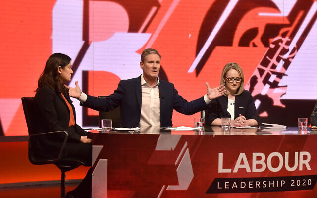 Labour leadership candidates (left to right) Lisa Nandy, Sir Kier Starmer and Rebecca Long-Bailey in Newsnight Labour leadership hustings in early February. (Photo credit: Jeff Overs/BBC/PA Wire)