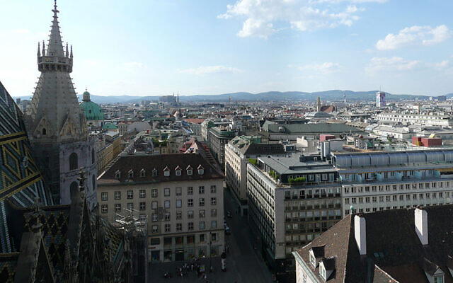 View from the north tower of St. Stephen's Cathedral over Vienna. (Wikipedia/Author: Gryffindor/GNU Free Documentation License/https://creativecommons.org/licenses/by/3.0/legalcode)