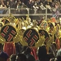 Some dancers in Sao Paulo's huge Carnival parade wore swastikas. (Screenshot from Globo TV via JTA)