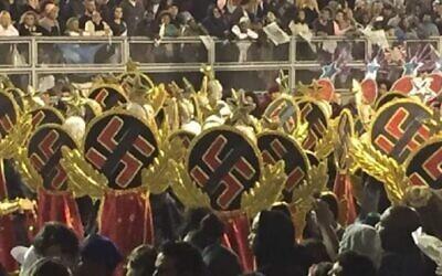 Some dancers in Sao Paulo's huge Carnival parade wore swastikas. (Screenshot from Globo TV via JTA)