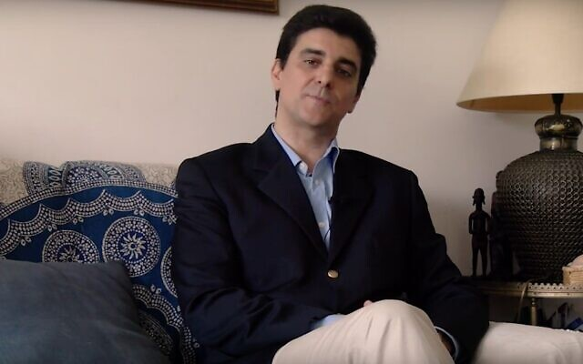 Screen capture from video of Portuguese politician Abel Matos Santos. (YouTube via Times of Israel)