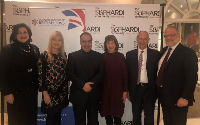 From left to right, Nancy Khedouri, Marie van der Zyl, Ambassador Shaikh Fawaz bin Mohammed Al Khalifa, Lauderdale Road Synagogue chair and deputy Barbara Simon, David Dangoor, Rabbi Israel Elia