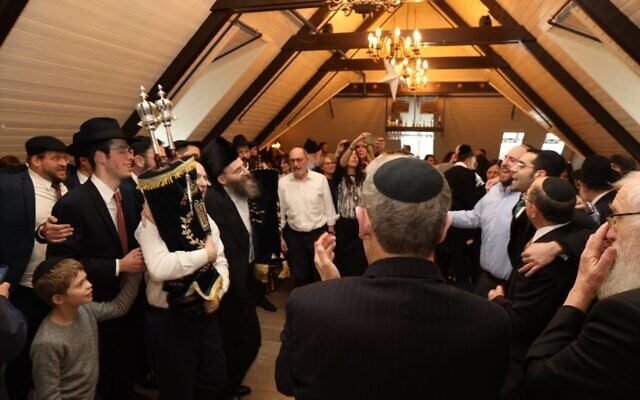 Iceland's Jewish community celebrates a new Torah scroll (Credit: Chabad. Photographer: Gabriel Rutenberg)