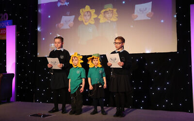 Menorah Foundation School students pitch during the Dragons' Den style contest at the Jewish Schools Awards 2020 (Marc Morris Photography)