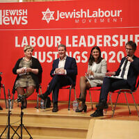 ITV political editor Robert Peston with Rebecca Long Bailey, Emily Thornberry, (who has since pulled out of the contest), Keir Starmer and Lisa Nandy during the community's Labour leadership hustings in February (Marc Morris)