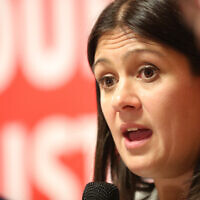 Lisa Nandy at a Jewish Labour-Jewish News hustings (Marc Morris Photography via Jewish News)