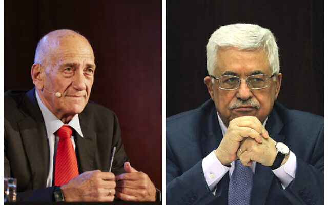 Ehud Olmert and Mahmoud Abbas