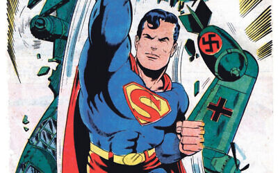 Superman was created by two poor Jewish men. Here he fights with the Nazis
