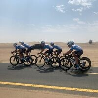 Israeli cyclists including Omer Goldstein practise in Dubai ahead of the UAE race. Credit: Team Israel Start Up Nation