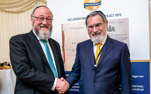 Chief Rabbi Mirvis and Rabbi Lord Sacks celebrating the United Synagogue's 150th birthday (Paul Lang Photography)