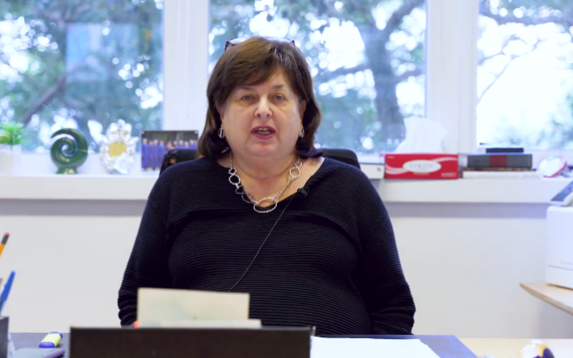 Rachel Friedmann in video message to parents (Credit: Carmel School Association)