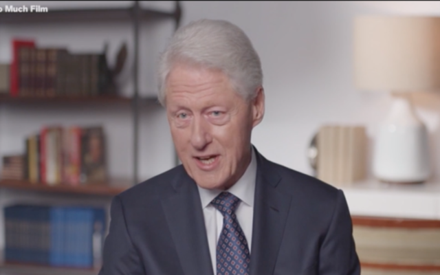 """Bill Clinton speaks in a clip from """"Viral: Antisemitism in Four Mutations."""" (Screenshot from Newsweek via JTA)"""