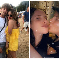 Caroline Flack with Eyal Booker on the left and with her friend Mollie Grosberg on the right