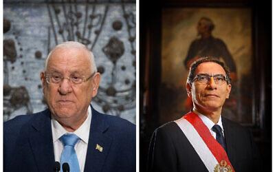 Israel's president Reuven Rivlin, left, asked Peru's President Martin Alberto Vizcarra Cornejo that Monsongo,, right to grant clemency