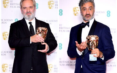 Left: Sam Mendes in the press room after winning the award for Best Film with 1917 at the 73rd British Academy Film Awards. Right: Taika Waititi with the award for Best Adapted Screenplay. (Photo credit: Ian West/PA Wire)