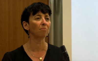 Prof. Vered Noam of Tel Aviv University, the 2020 laureate of the Israel Prize in Talmud studies, the first woman to receive the prestigious award (YouTube screenshot via Times of Israel)