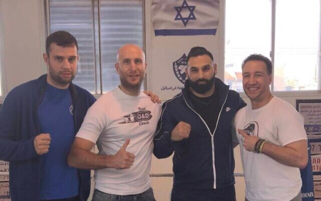 Evgheni Boico, coach of Gloves & Doves Israel, Tony Milch, Hiitham Shehede (nephew to head coach of Kfar Yasif village) and US boxer Boyd Melson