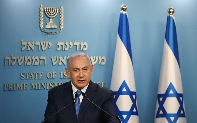 Israeli prime minister Benjamin Netanyahu speaks during a press conference about the coronavirus COVID-19, at the Prime Ministers office in Jerusalem on March 25, 2020. Photo by Olivier Fitoussi-JINIPIX