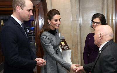 The Duke and Duchess of Cambridge meeting Sir Ben Helfgott during the UK Holocaust Memorial Day Commemorative Ceremony at Central Hall in Westminster, which was broadcast live on the BBC. (Photo credit: Chris Jackson/PA Wire via Jewish News)