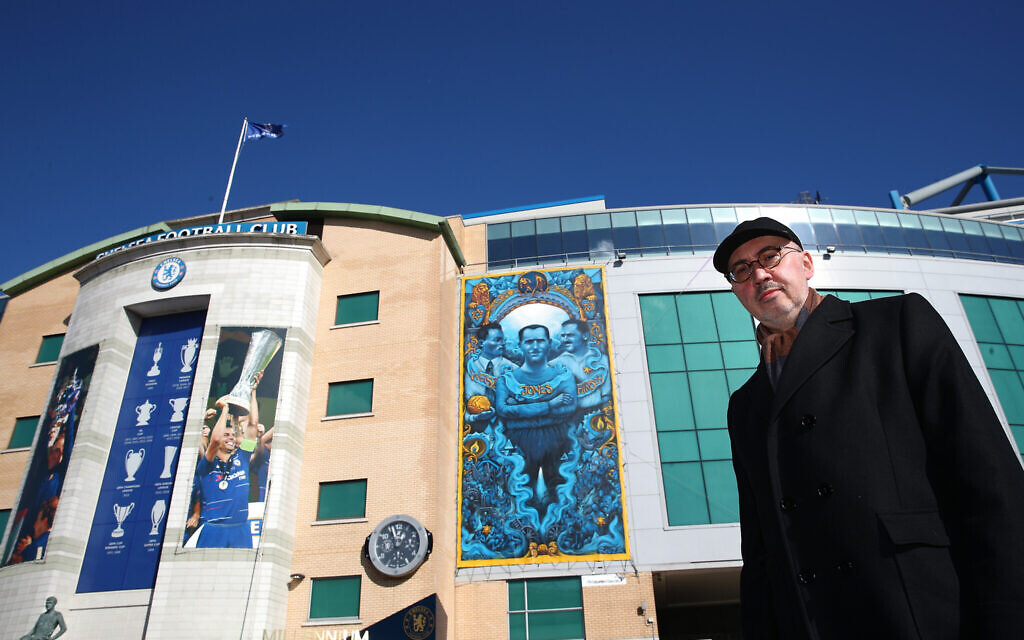 Andreas Hirsch Visits Stamford Bridge and see the Holocaust Memorial Mural by Soloman Souza, featuring his grandfather Julius. (Photo by Chelsea FC/Chelsea FC)