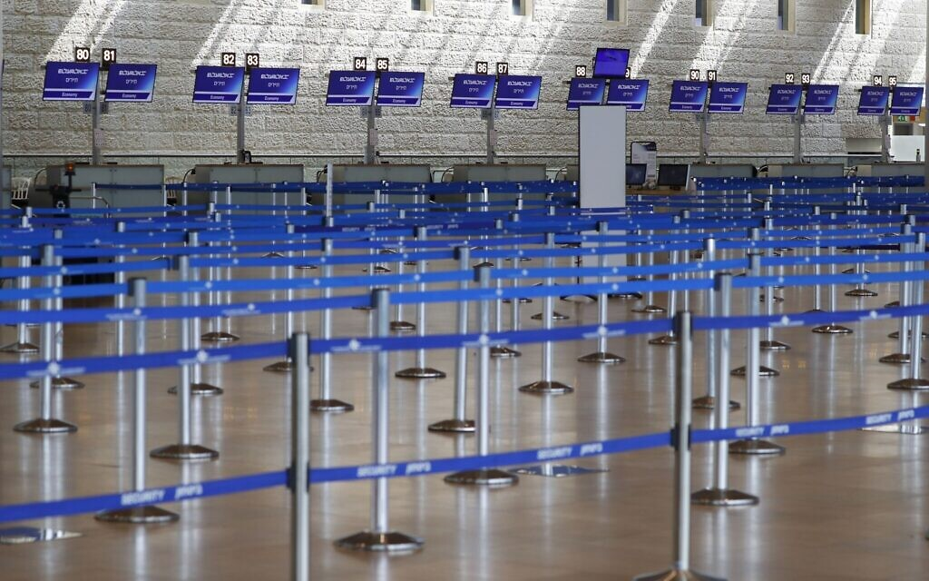 Check-in counters are empty at Ben Gurion International Airport near Tel Aviv.