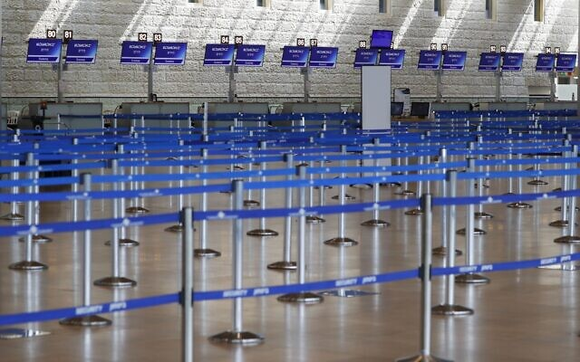 Empty check-in counters at Ben Gurion International Airport near Tel Aviv, before the first peak of the pandemic