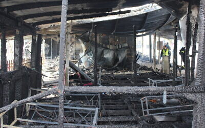 Scene of devastation following the blaze at  The International School of Peace (Credit: ISOP/Roni Huss)