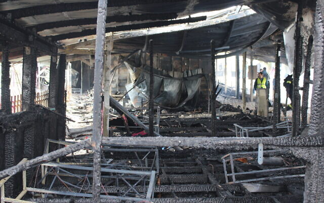 Scene of devastation following the blaze at  The International School of Peace (Credit: ISOP/Roni Huss)