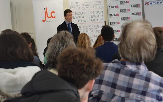 Rory Stewart speaking at JW3