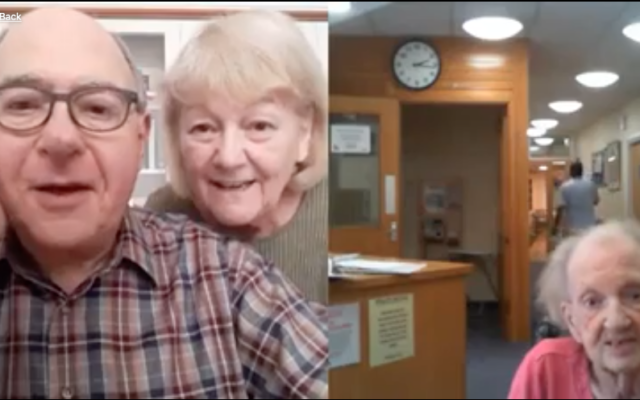 Screenshot from Jewish Care video, showing Mike chatting with his Mum, Anne, 99, on Mother's Day