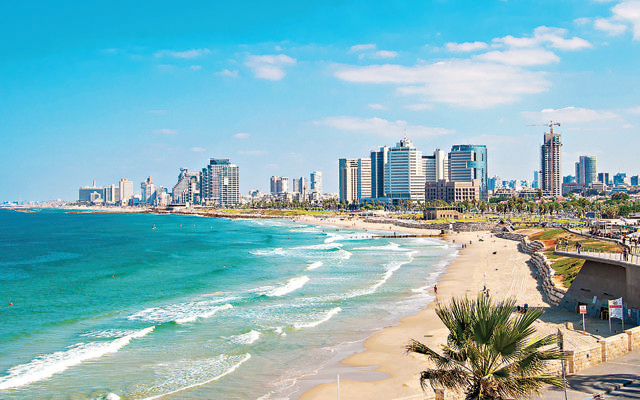 Views of the waterfront and beaches of Tel Aviv  from Jaffa